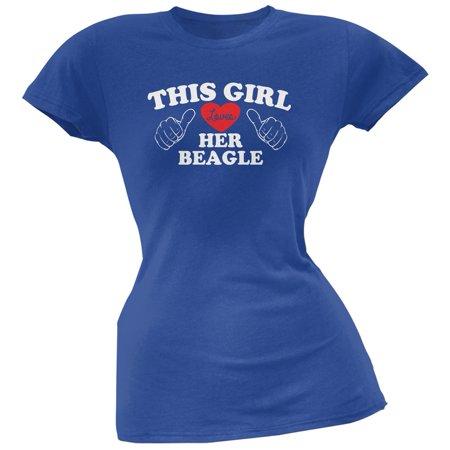 This Girl Loves Her Beagle Blue Soft Juniors T-Shirt