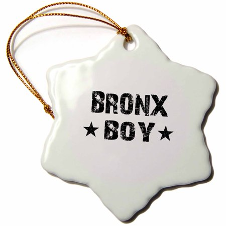 3dRose Bronx Boy - home town city area pride - USA United States of America black and white text and stars - Snowflake Ornament, 3-inch](Party City Bronx)
