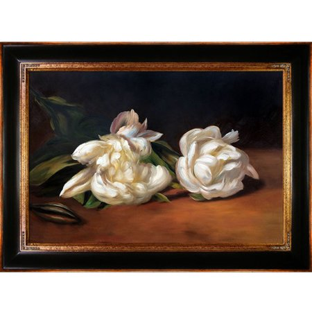 Tori Home Branch of White Peonies with Pruning Shears by Edouard Manet Framed Painting Print on Wrapped Canvas
