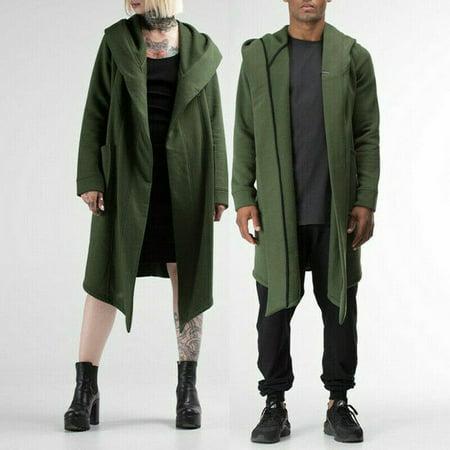 Men Women Cardigan Hooded Cloak Cape Coat Long Jacket Trench Outwear Overcoat ()
