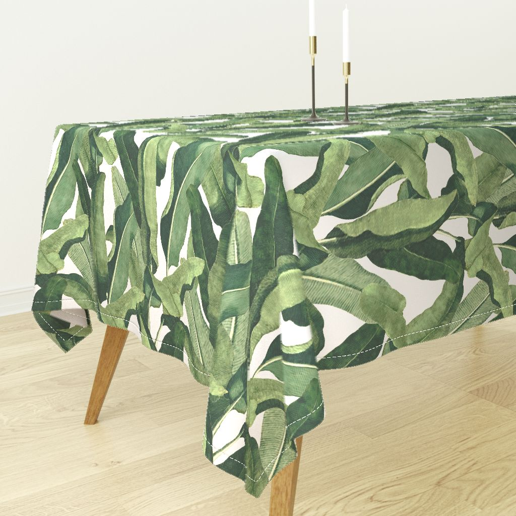 a3231e221cad Tablecloth Tropical Leaves Fabric Banana Leaf Exotic Large Scale Cotton  Sateen