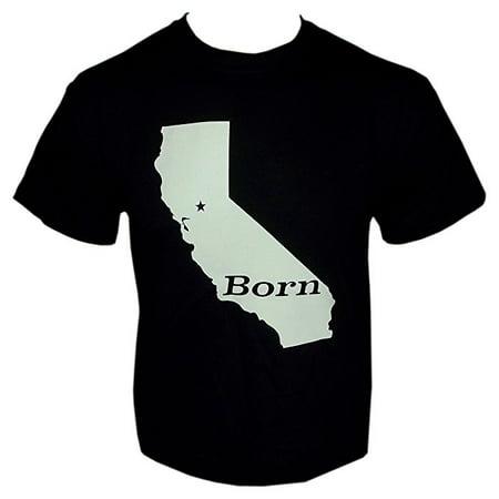 Born California State Outline Mens Novelty Shirt (Black, Large) (California Novelty)