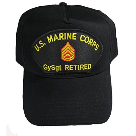 U.S. MARINE CORPS GYSGT RETIRED HAT with Gunnery Sergeant Rank In The Center cap - BLACK - Veteran Owned Business
