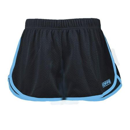 Birds Retro Mesh Binding Leg & Side Seams Shorts for Junior, Black & Blue Aster - Medium - image 1 de 1