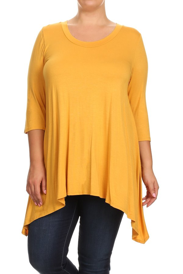 Plus Size Women's Trendy Style 3/4 Sleeves Solid Tunic Top