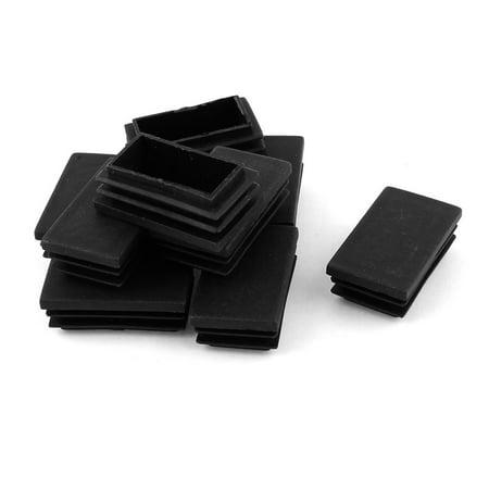 Unique Bargains 10 Pcs Plastic Rectangle Shape End Cap Cover Pipe Tube Insert Black 50mm x 30mm