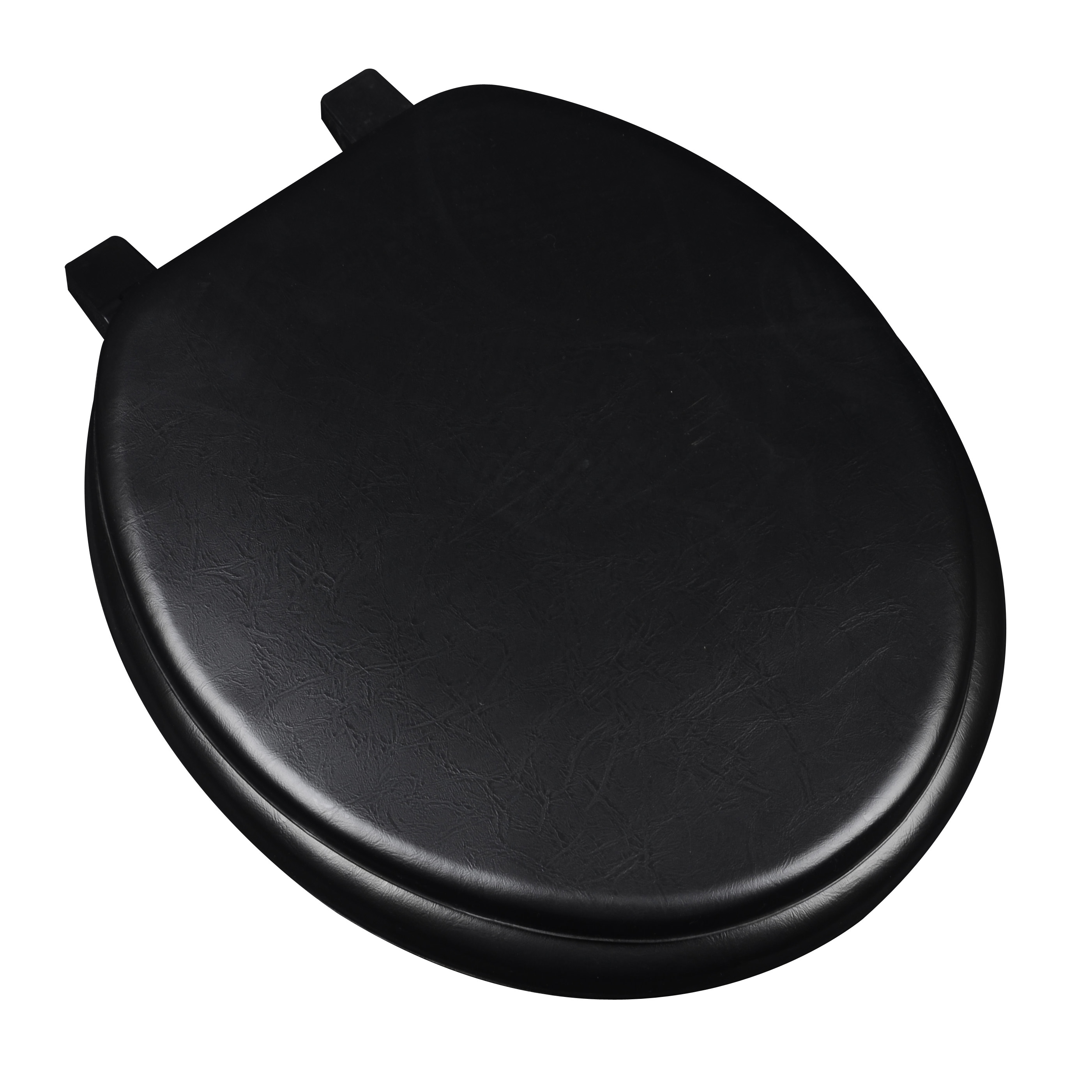 BathDecor Deluxe Soft Round Toilet Seat with a Closed Front in Black.