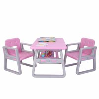 Akoyovwer 3 Pieces Kids Table and Chairs Sets 2-8,Toddler Table Chair Sets Best for Toddlers Lego, Reading, Train, Art Play-Room,Pink