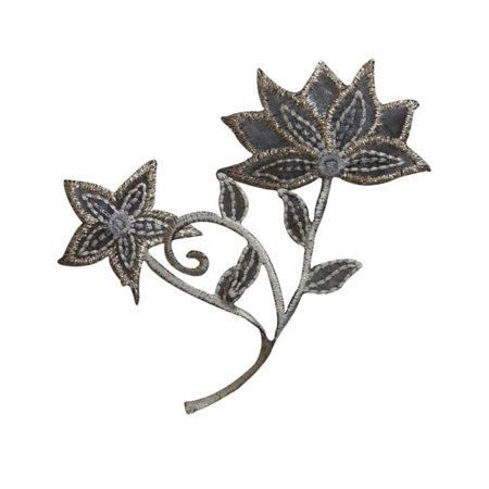 ID 6829 Gray Flower Silhouette Patch Garden Plant Embroidered Iron On -