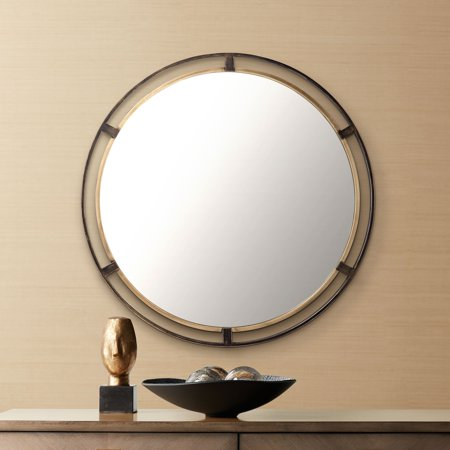 "Uttermost Crest Bronze and Gold 34"" Round Wall Mirror"