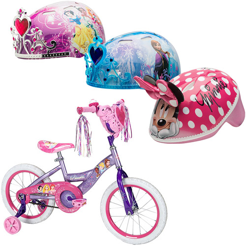 Huffy Disney Princess Girls' Bike with Heart Basket and Bell Sports Disney 3D Helmet Bundle