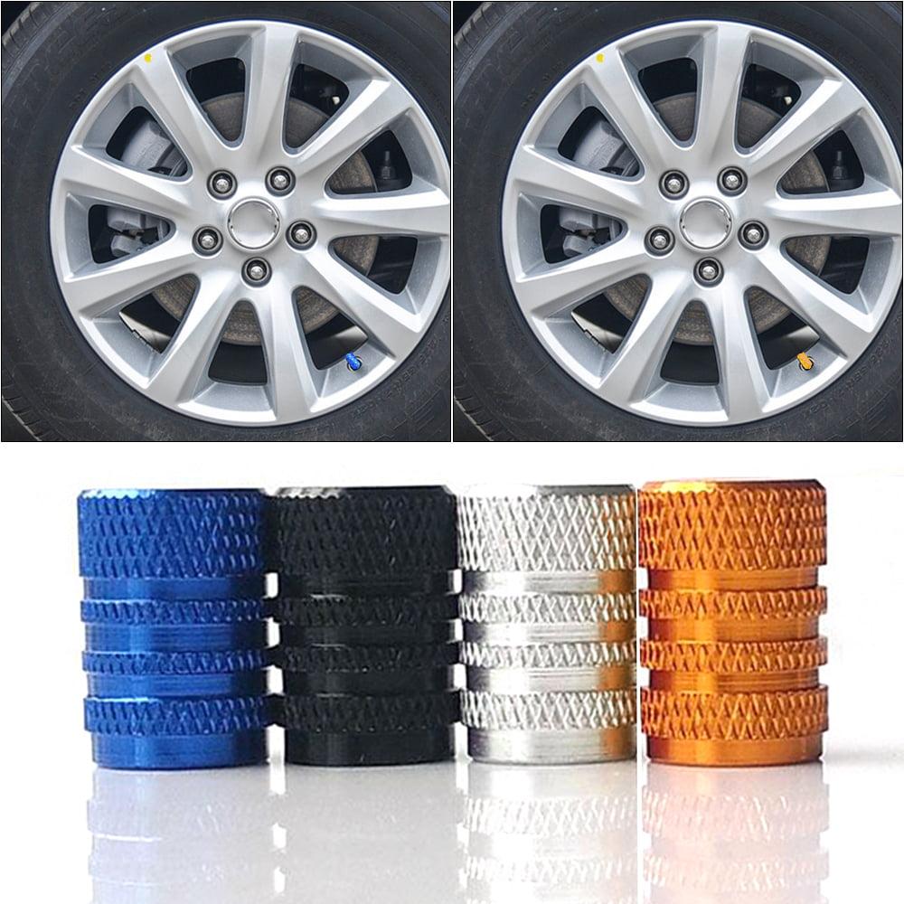 silver Wheel Valve Stem 4Pcs Aluminum Alloy Spike Wheel Tire Valve Stem Car Truck Air Dust Caps Covers Auto Wheel Tyre Dust Stems Cover