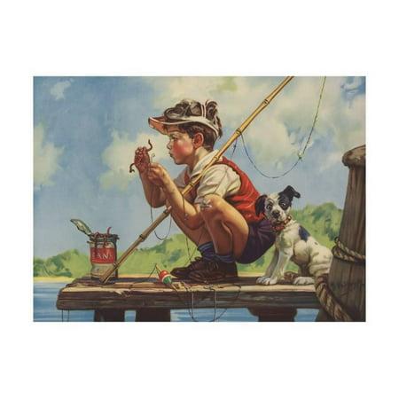 Illustration of Boy Hooking Bait Print Wall Art