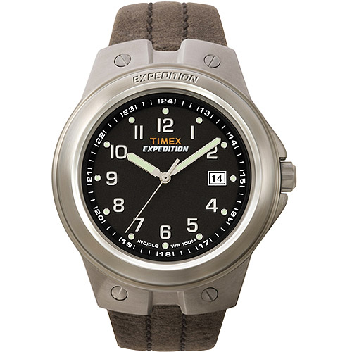 Timex Mens Expedition Metal Tech Watch, Brown Leather Strap