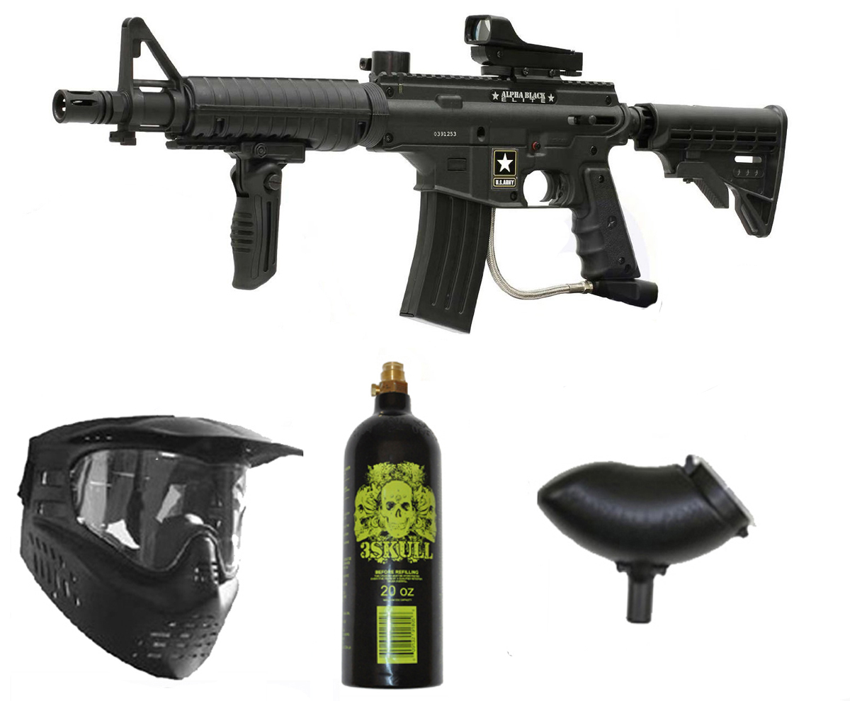 US Army Alpha Black Elite Paintball Marker Gun 3Skull Deluxe Package by