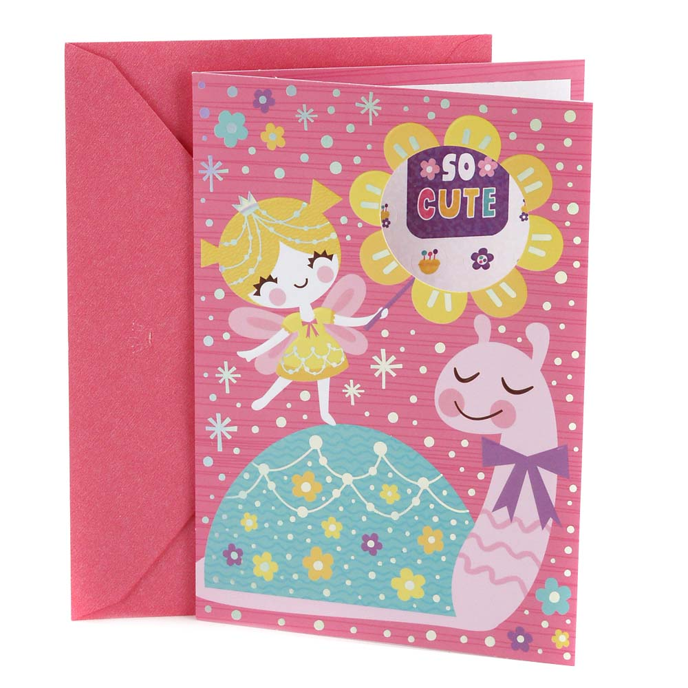 Hallmark, Fairy and Snail with Stickers, Birthday Greeting Card, for Kids