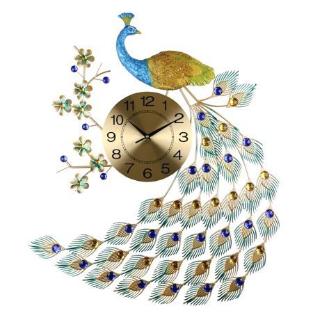 "Peacock Multi-Color Metal Wall Clock Bejeweled Feathers & Gold Clock Face 24"" x 31"" Bird & Flower Décor"