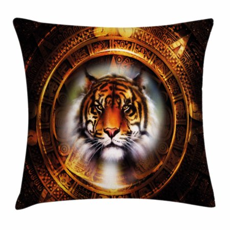 Tiger Throw Pillow Cushion Cover, Ancient Mayan Calender Design with Big Hunter Cat Head Wise Feline Old Cultures, Decorative Square Accent Pillow Case, 16 X 16 Inches, Pale Brown Gold, (Big Square Head)