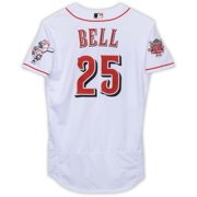 David Bell Cincinnati Reds Game-Used #25 White Jersey with 150 Patch During Games Played on May 18th and 27th and July 4th During the 2019 MLB Season - Size 44 - Fanatics Authentic Certified