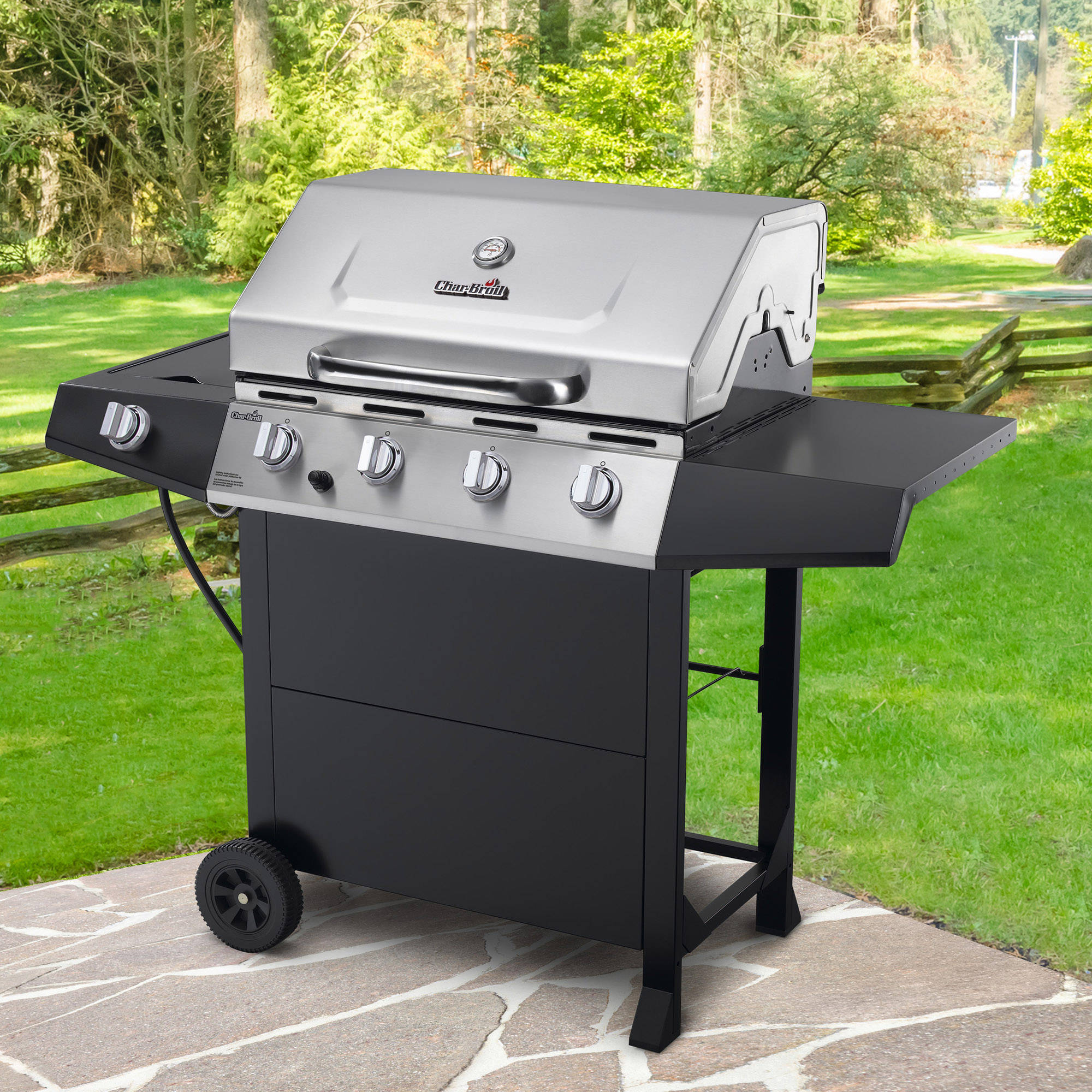 Char Broil 4 Burner Gas Grill Stainless Steel Black Walmart