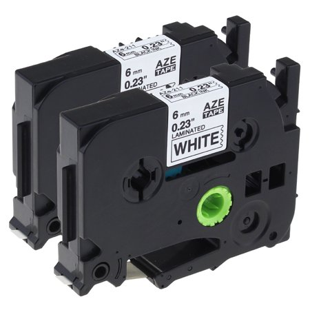 Laminated 3/4' Tz Tape Cartridges - Label KINGDOM TZ Tapes 6mm, P-Touch Label Tape Compatible TZe-211 TZe211 TZ-211 TZ211 Laminated Tape Cartridge for Brother Label Maker, Black on White, 1/4 Inch x 26.2 Feet, 2-Pack
