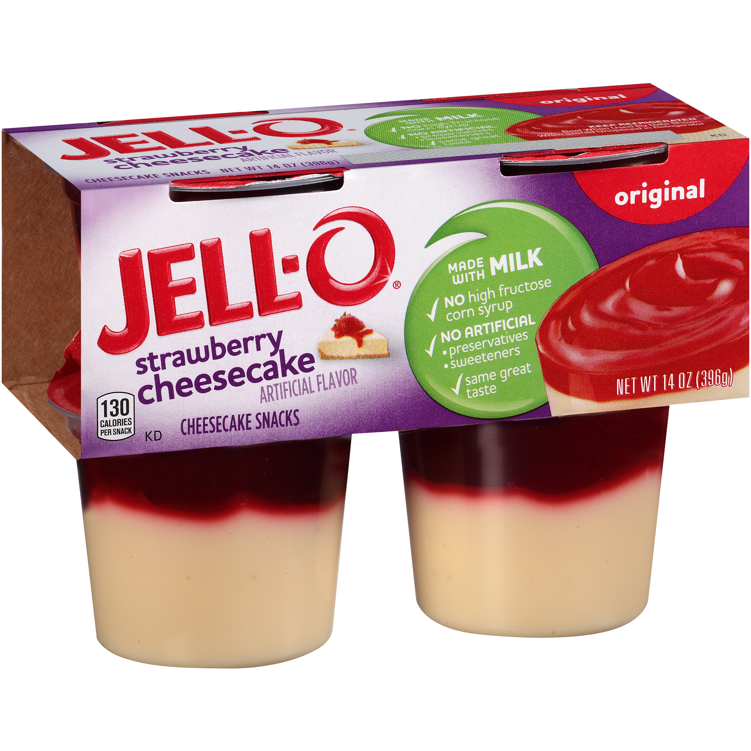 Jell-O Ready to Eat Strawberry Cheesecake Pudding Snack, 14 oz Sleeve (4 Cups)