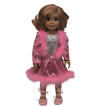 Skating Dance Set Pink Boa Trim Jacket and Skirt Fits 18
