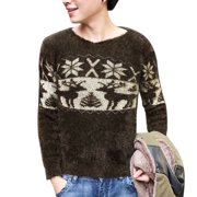 Azzuro Men's Deer Snowflake Pattern Long Sleeve Plush Sweater (Size S / 34)