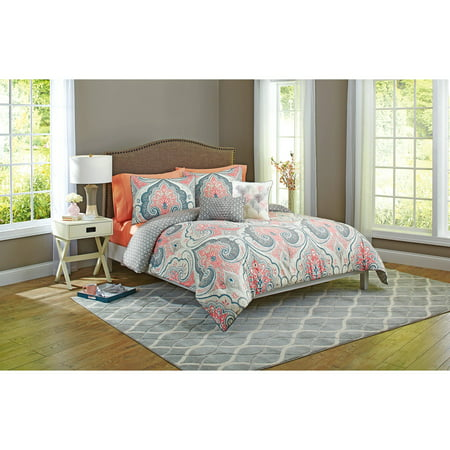 Better Home And Gardens Grey Medallion 5 Piece Bedding