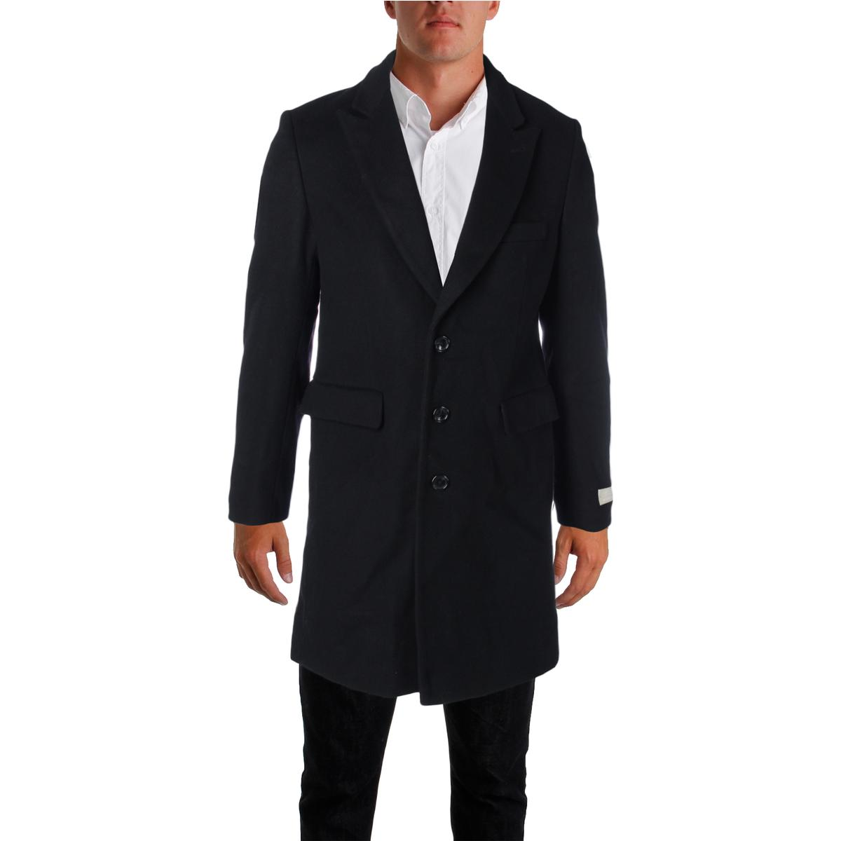 Michael Kors Mens Wool Blend Slim Fit Pea Coat