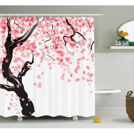 Japanese Decor Shower Curtain Set Cherry Tree Blossom In Watercolor Painting Effect Oriental Stylized
