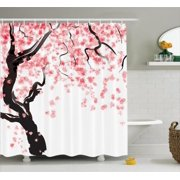 Anese Decor Shower Curtain Set Cherry Tree Blossom In Watercolor Painting Effect Oriental Stylized