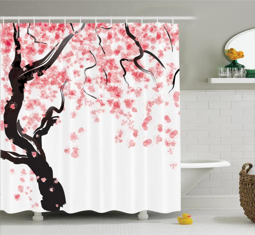 Genial Japanese Decor Shower Curtain Set, Japanese Cherry Tree Blossom In  Watercolor Painting Effect Oriental Stylized