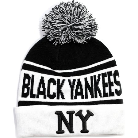 Cultural Exchange - Big Boy New York Black Yankees Mens Beanie with Ball   Black  - Walmart.com 690344c0110