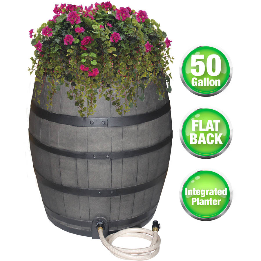 Rescue 50-Gallon Whiskey Rain Barrel with Black Bands – Includes Planter, Rain Water Diverter, Outlet Hose – Flatback Design – Gray