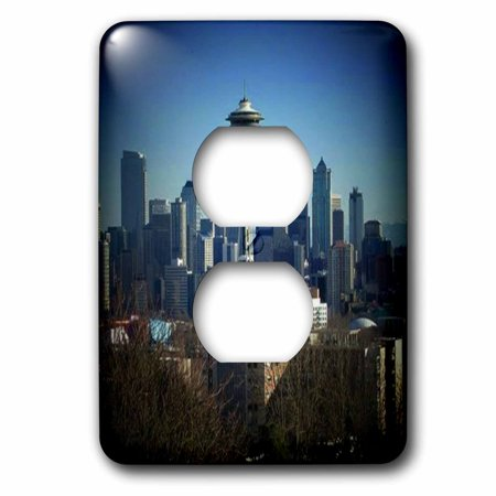 3dRose Seattle Space Needle and Downtown - 2 Plug Outlet Cover (Seattle Outlets Mall)