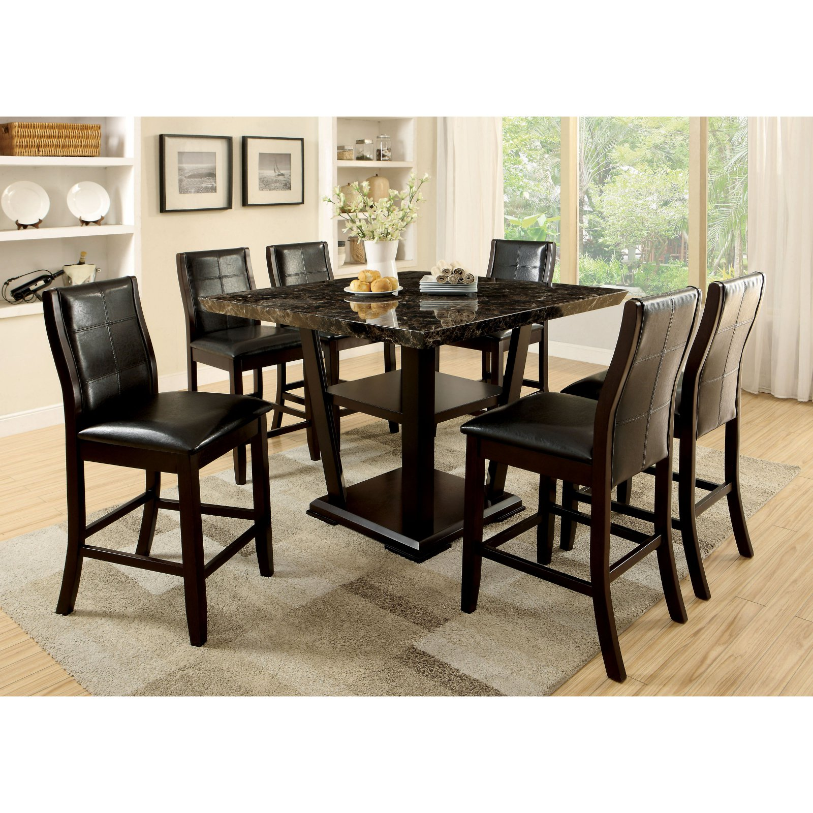 Furniture of America Newrock 7 Piece Counter Height Faux Marble Dining Table Set