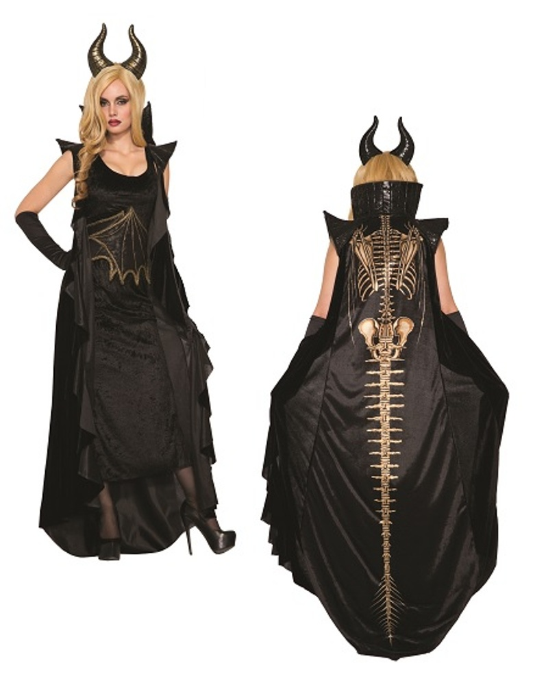 Wicked Dragon Halloween Costume Dress Womens Black Skeleton Bones Wizard Std