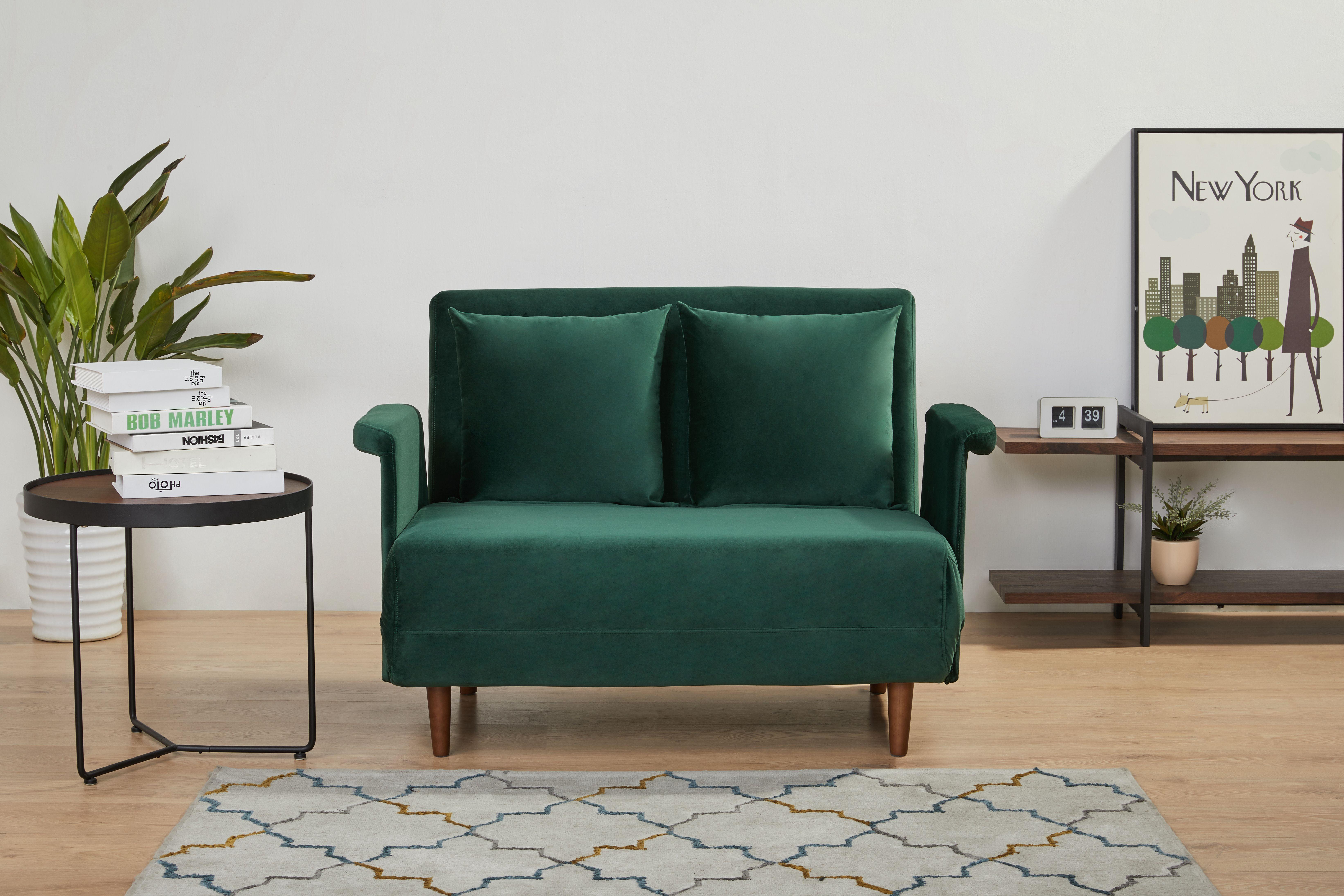 A D Home Boston 39 37 Velvet Convertible Chair Green Walmart Com Walmart Com