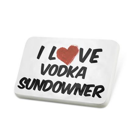 Porcelein Pin I Love Vodka Sundowner Cocktail Lapel Badge – - Halloween Themed Vodka Cocktails