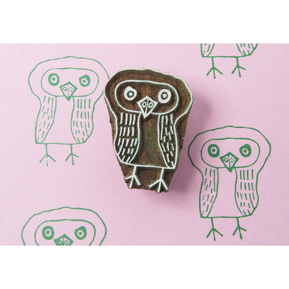 Blockwallah Block Stamp-Kind Owl Multi-Colored