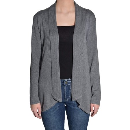 Fever Womens Asymmetrical Open Front Cardigan Sweater (Heather Grey, Small)