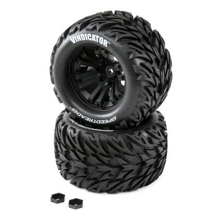 Duratrax SpeedTreads Vindicator Tires Mounted (2): 1/10 Stadium/Monster Truck, -