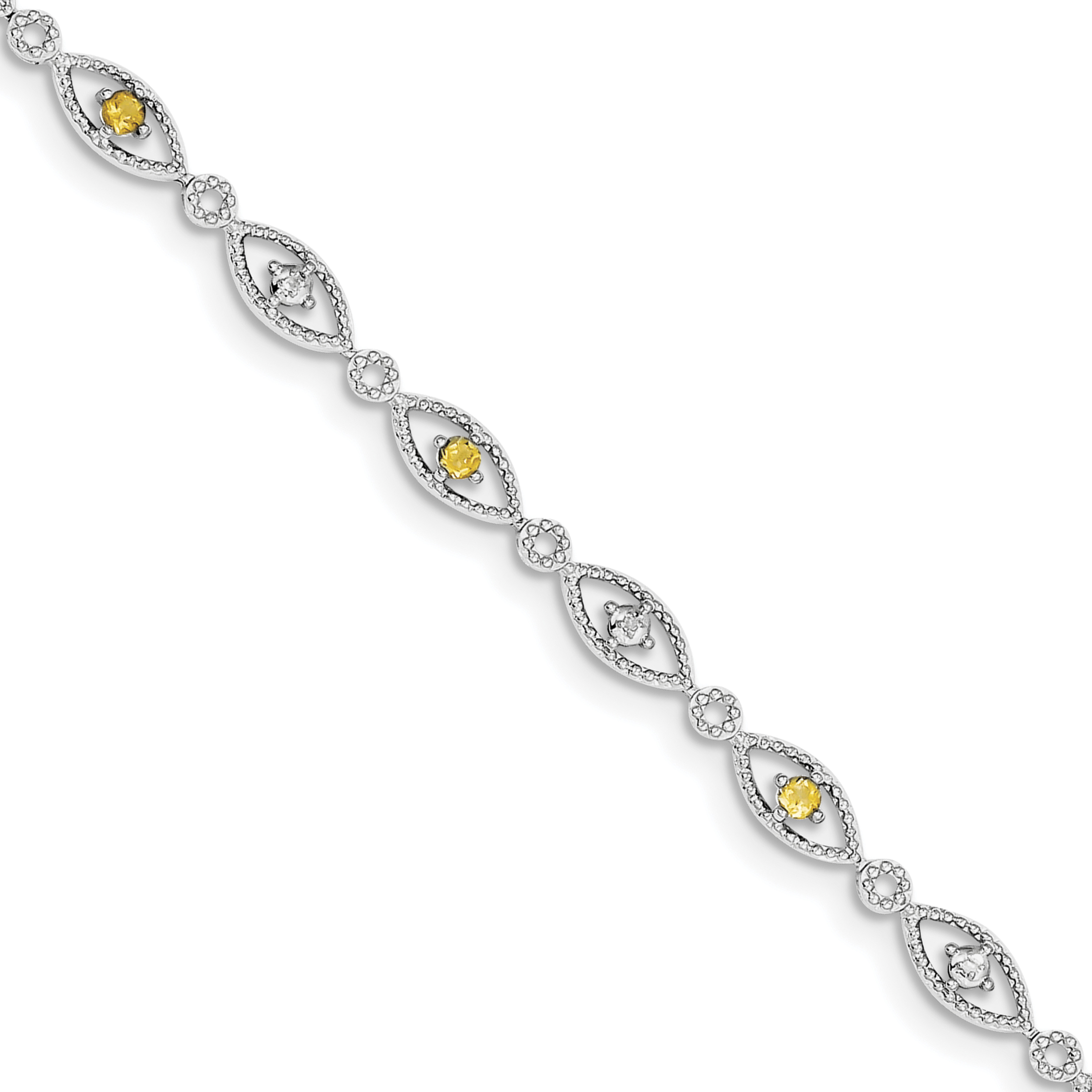 Roy Rose Jewelry Sterling Silver Citrine Diamond Bracelet ~ Length 7'' inches
