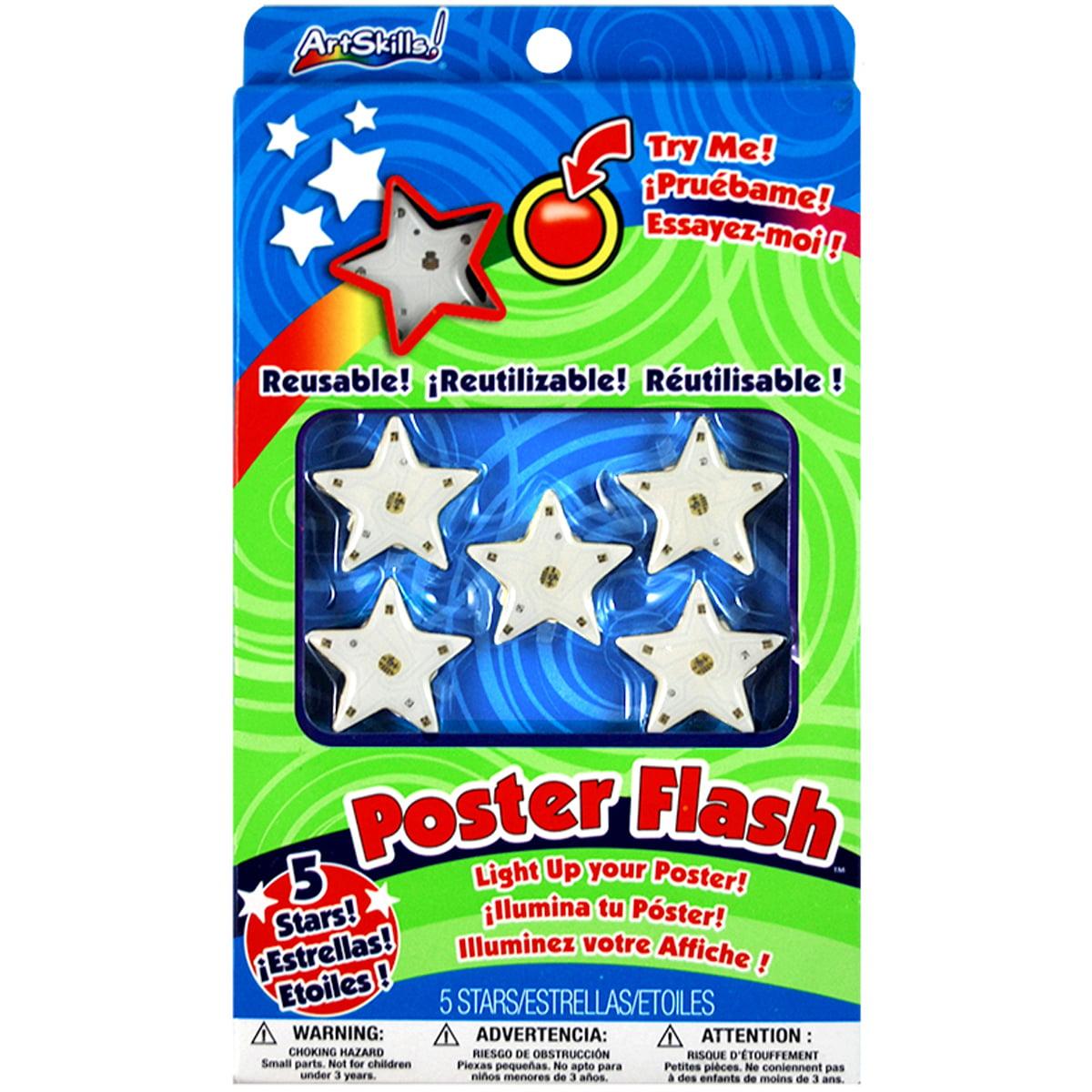 artskills poster flash reusable star led poster lights 5
