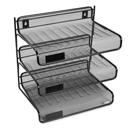 Mesh Collection 3-Tier Desk Shelf, Letter-Size, Black (22341), Storage tray is constructed of durable plastic that stands up to daily wear and tear. By Rolodex - Plastic Wear