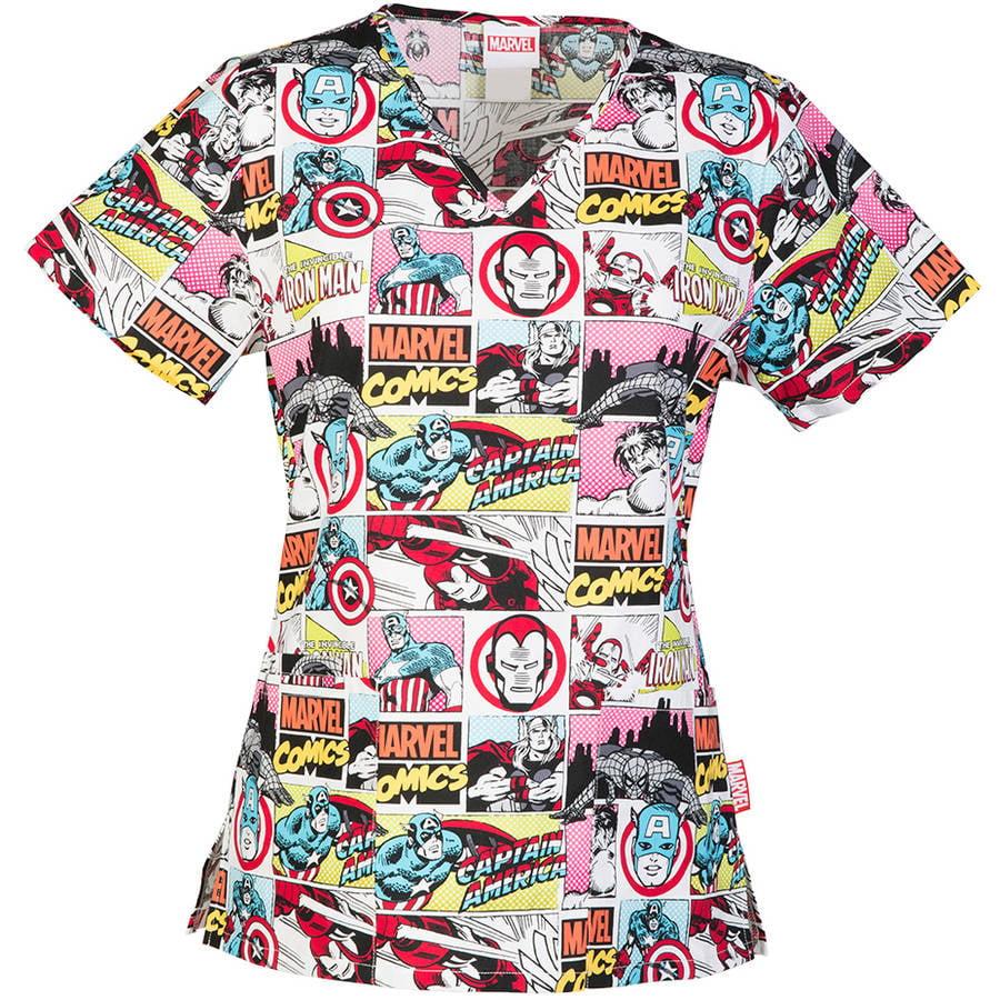 Marvel's Invincible Women's License Cotton V-Neck Printed Scrub Top