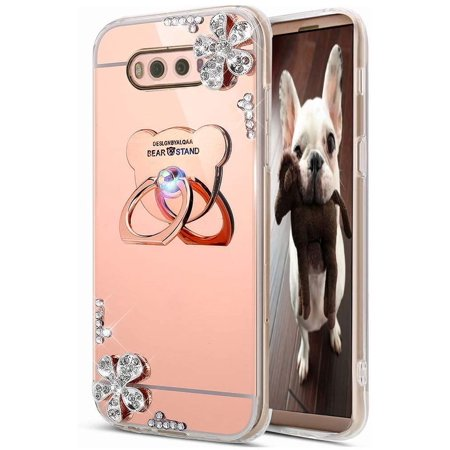 HMTECHUS Case for Samsung S10e Luxury Bling Crystal Diamond Rhinestone Shining Ring Holder Stand Miror Makeup TPU Bumper Cover Case for Samsung Galaxy S10e Rose Gold Flower Mirror TPU - image 1 de 3