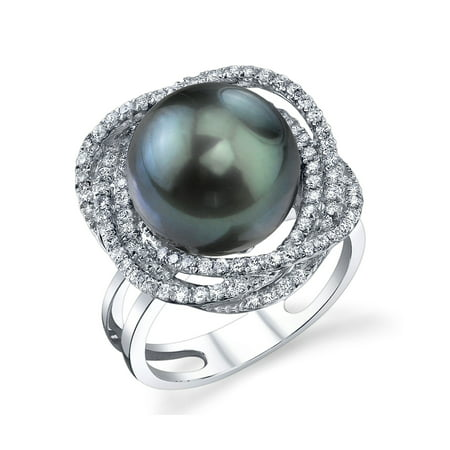 12mm Tahitian South Sea Cultured Pearl & Diamond Braided Ring in 18K Gold Diamonds 12mm South Sea Pearl