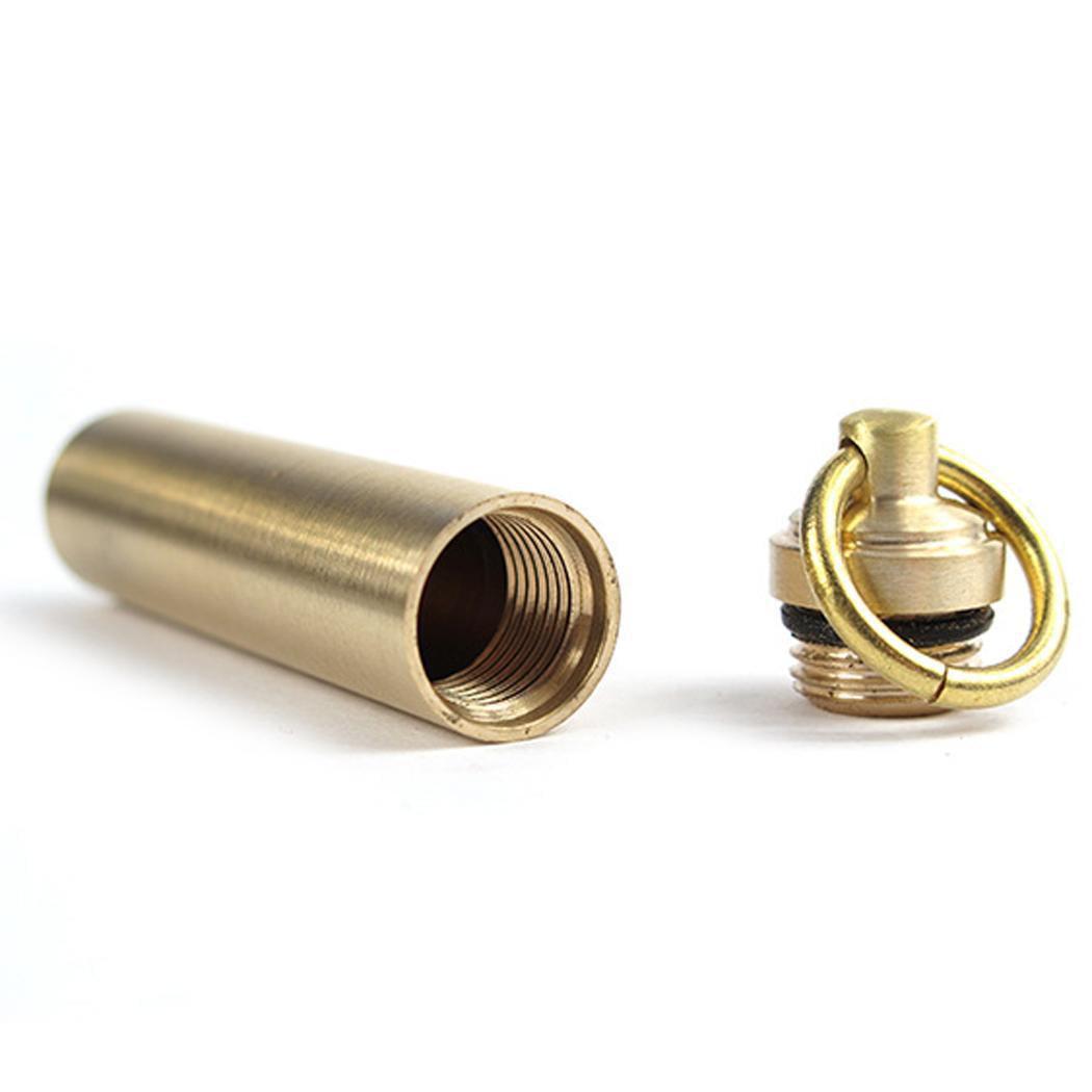 1Pcs Mini Cylindrical Brass Outdoor Waterproof Sealed Pill Tank Caroj - image 4 of 6